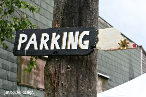 Parking pointing finger sign