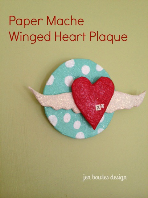 Paper Mache Winged Heart Plaque