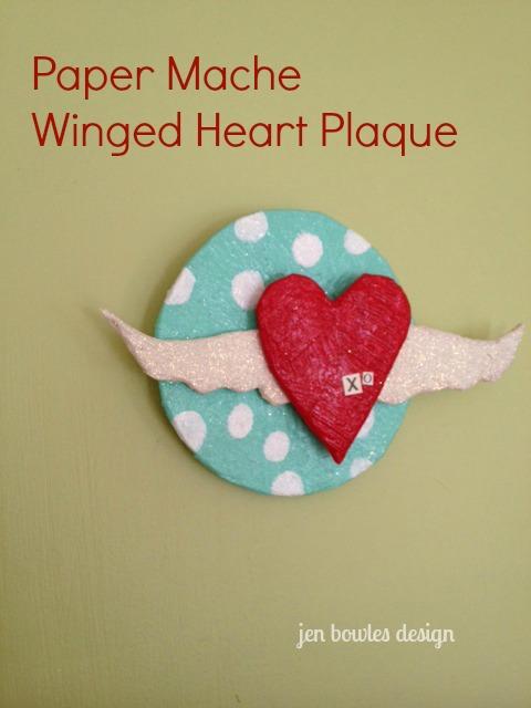 Paper Mache Winged Heart Plaque