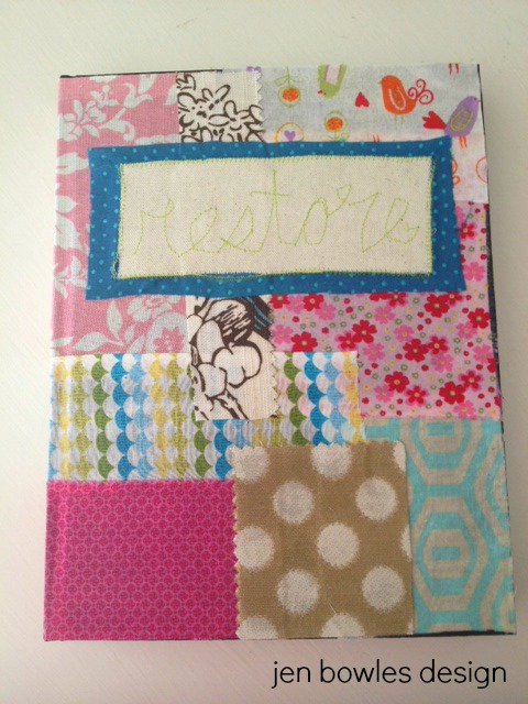 Art journal fabric patchwork  cover 1