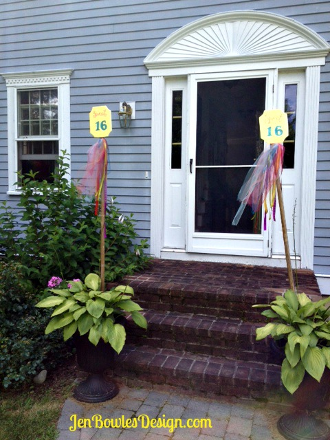 Sweet 16 decorated plant stakes