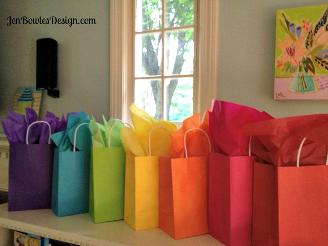Rainbow swap gift bags and matching tissue
