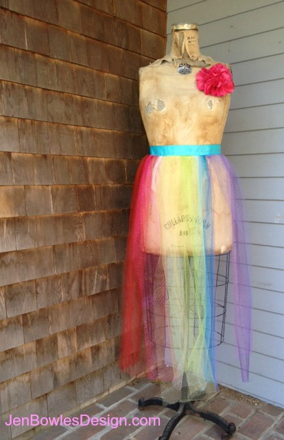 Rainbow tulle skirt dressform