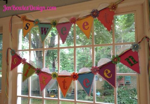 Rainbow sweet 16 banner handmade colorful with flowers