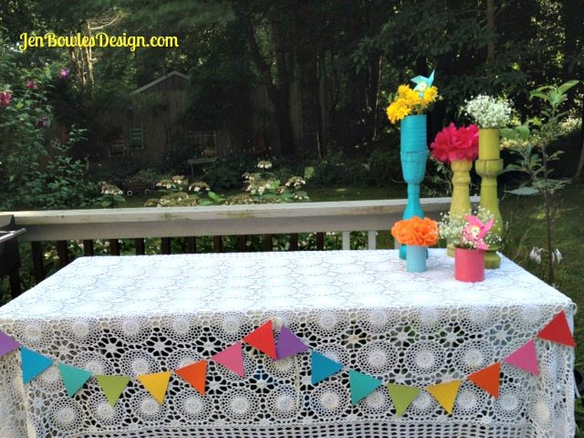 Rainbow food table decorations banner garland