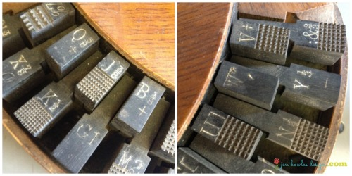 Vintage typewriter keys with fractions