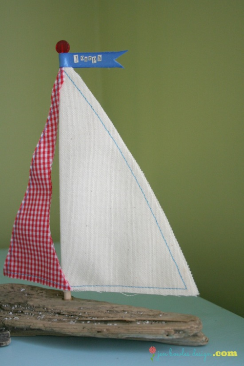 Driftwood sailboat baby gift by Jen Bowles Design