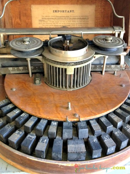Vintage typewriter with semi circular keyboard
