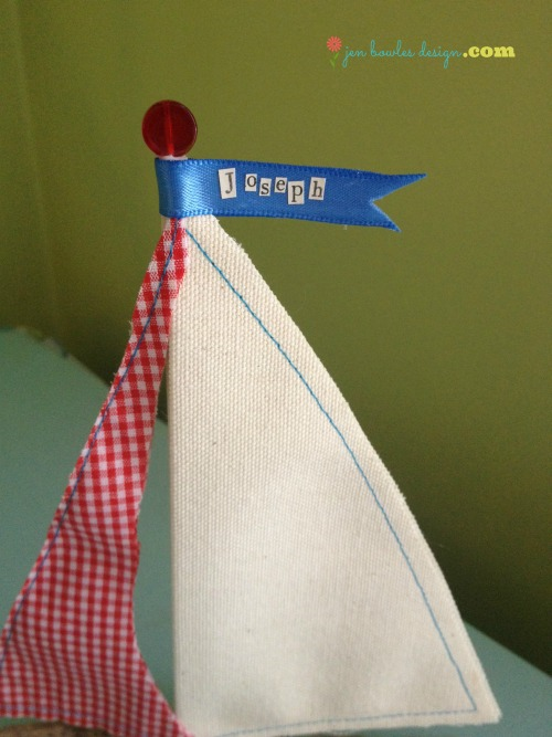Personalized driftwood sailboat by Jen Bowles Design