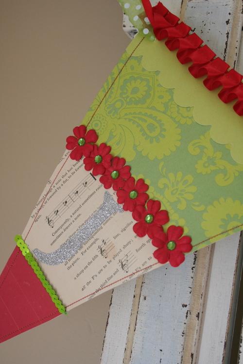 J:  JOY banner, Red & Lime Green